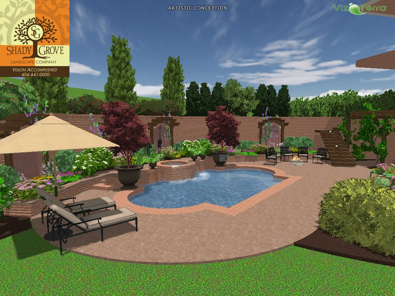 pool 3d landscape design