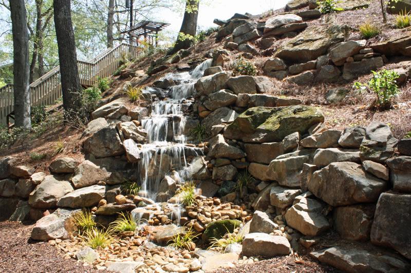 Atlanta pondless waterfall design installation shady for Waterfall installation