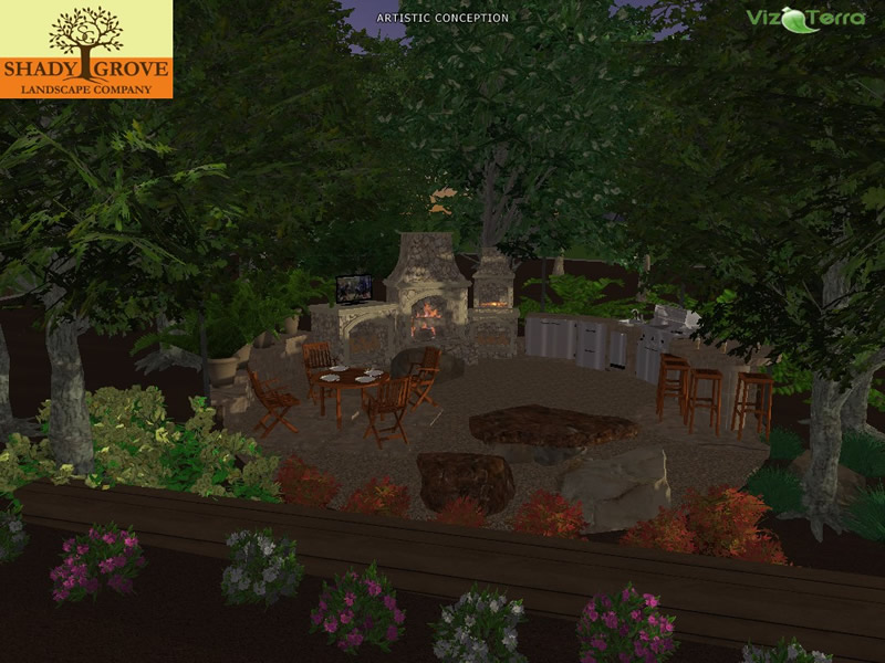 back yard 3d landscape design