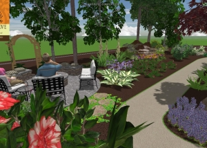 back patio 3d landscape design