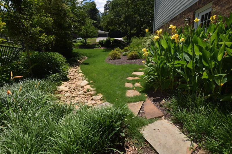 landscape drainage walkway